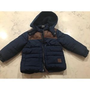 H&M puffer coat w/ brown leather details 12-18 mos